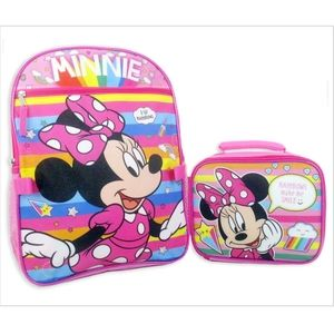NWT Girls Disney Minnie Mouse Backpack Lunch & Box